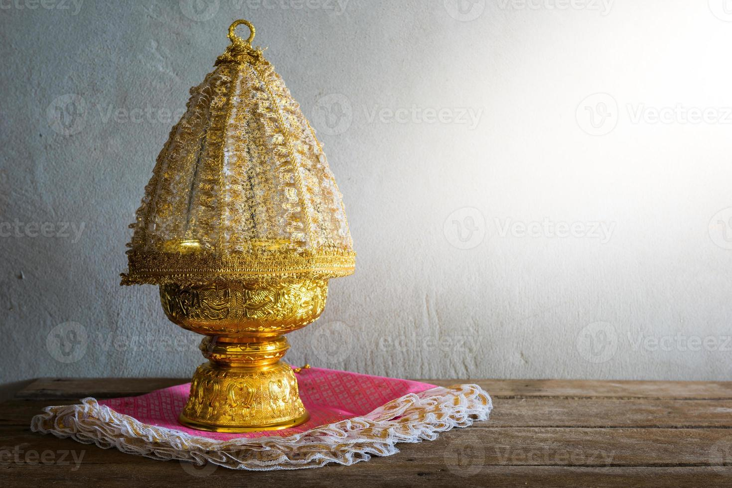 Thailand Gold tray with pedestal photo