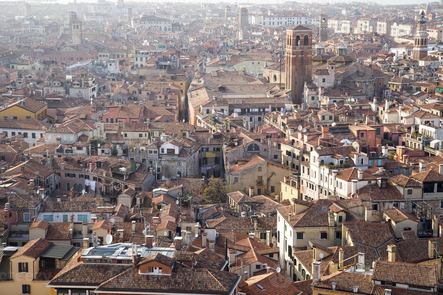 vista aérea del sitio del patrimonio mundial de la unesco paisaje urbano de venecia foto