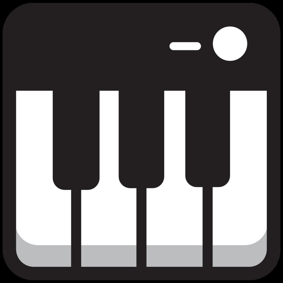 ronde vierkante muziek icoon piano png