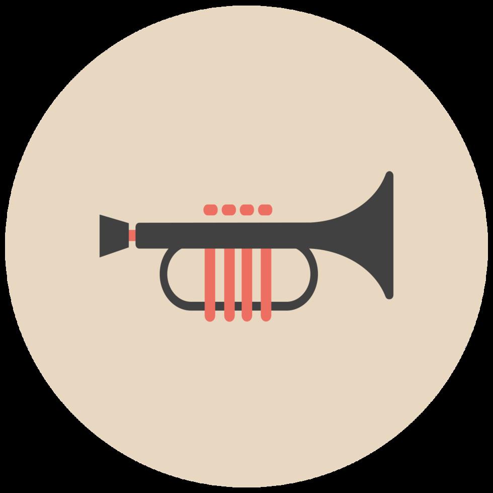 icono de música plana trumphet png