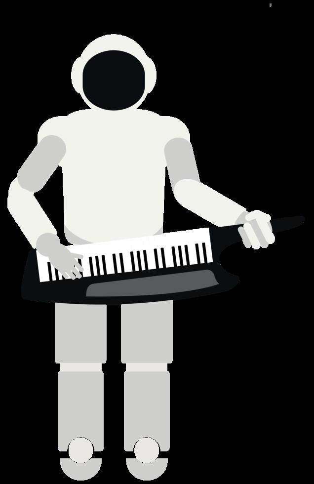 robot jouant de la musique clavier png
