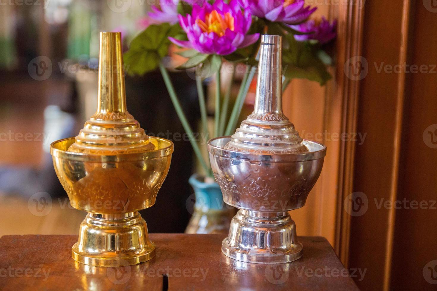 gold silver Thai bottle photo