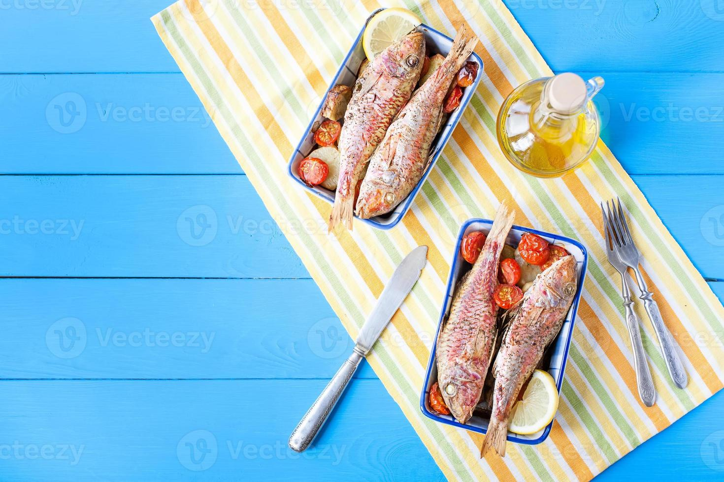 cooked red mullet with vegetables photo