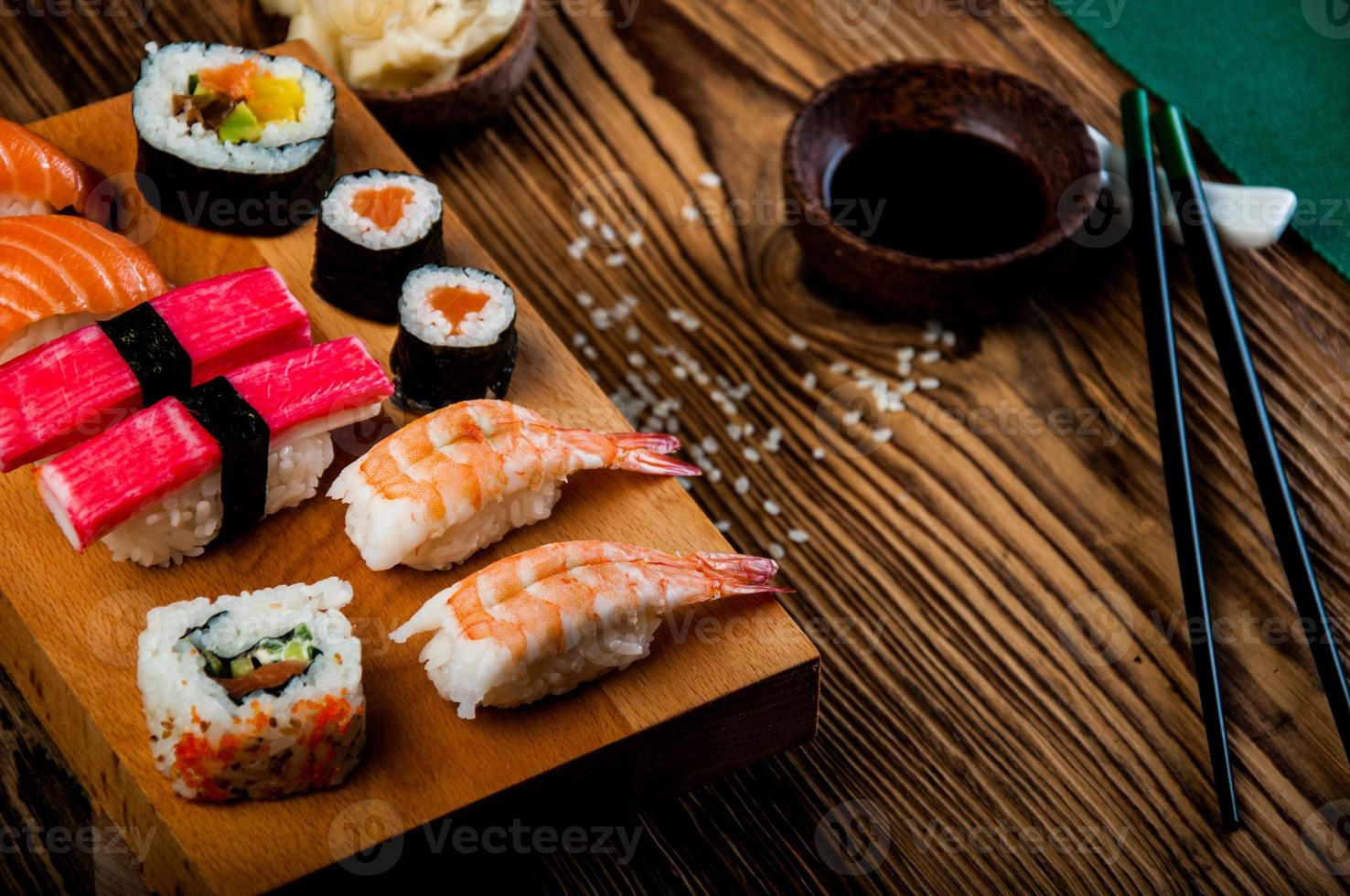 Oriental Japanese sushi set with seafood photo