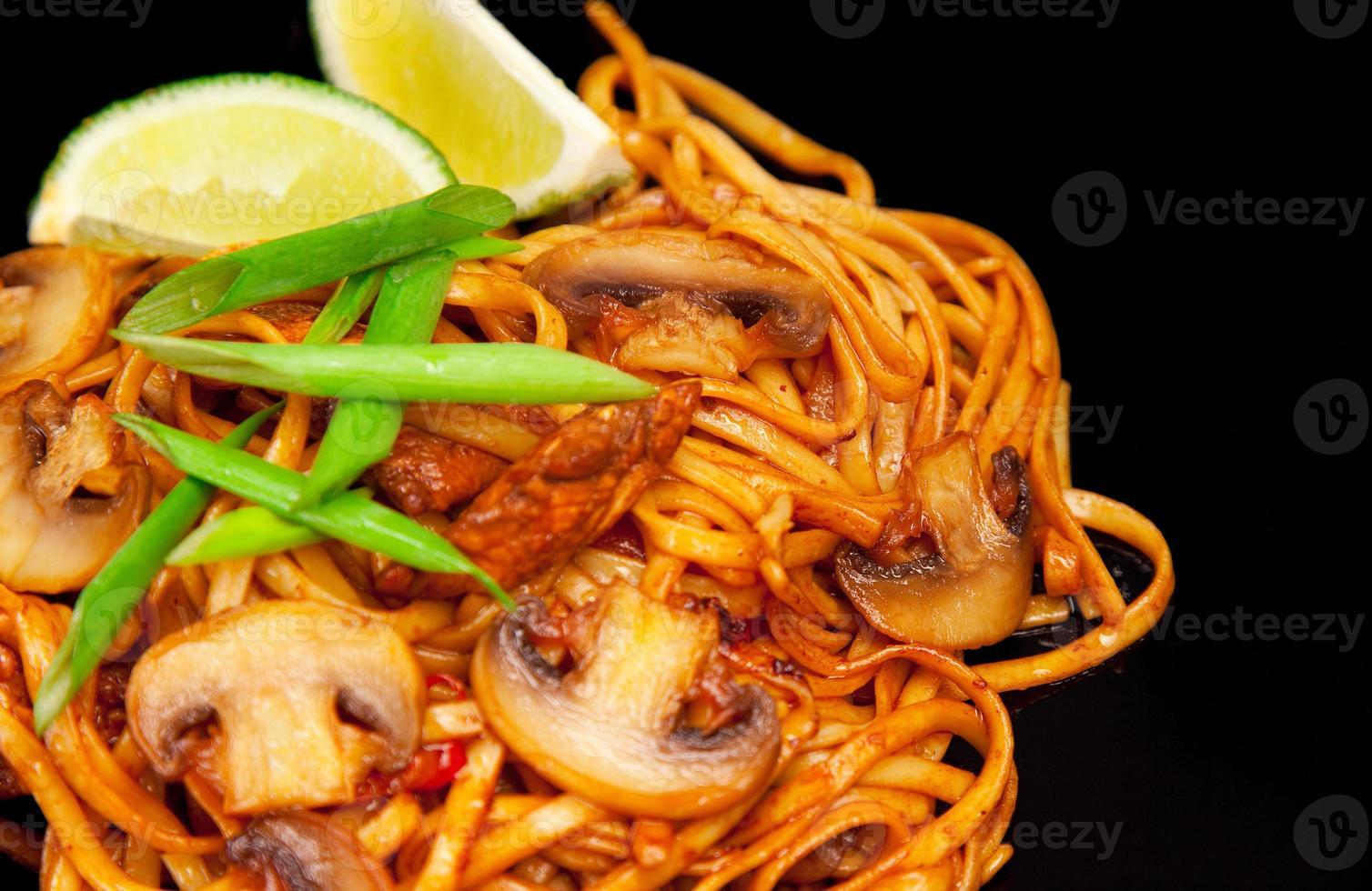 Asian noodle with roast mushroom photo