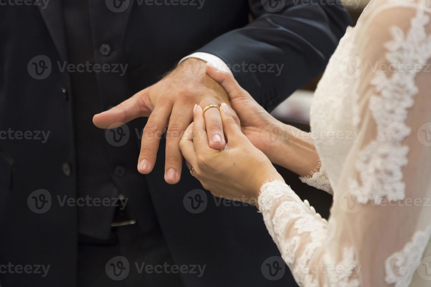 Wedding rings exchange photo