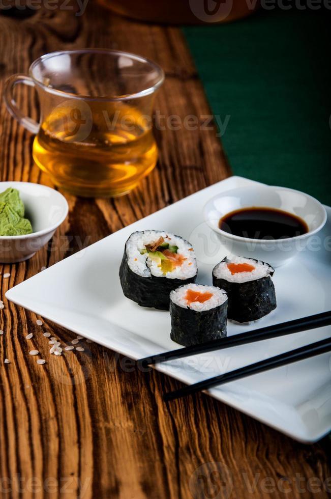 Colorful oriental sushi photo