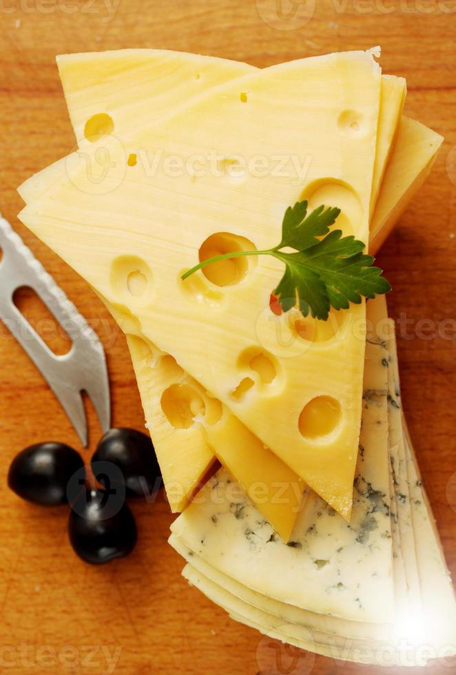 cut  Swiss and blue cheese photo