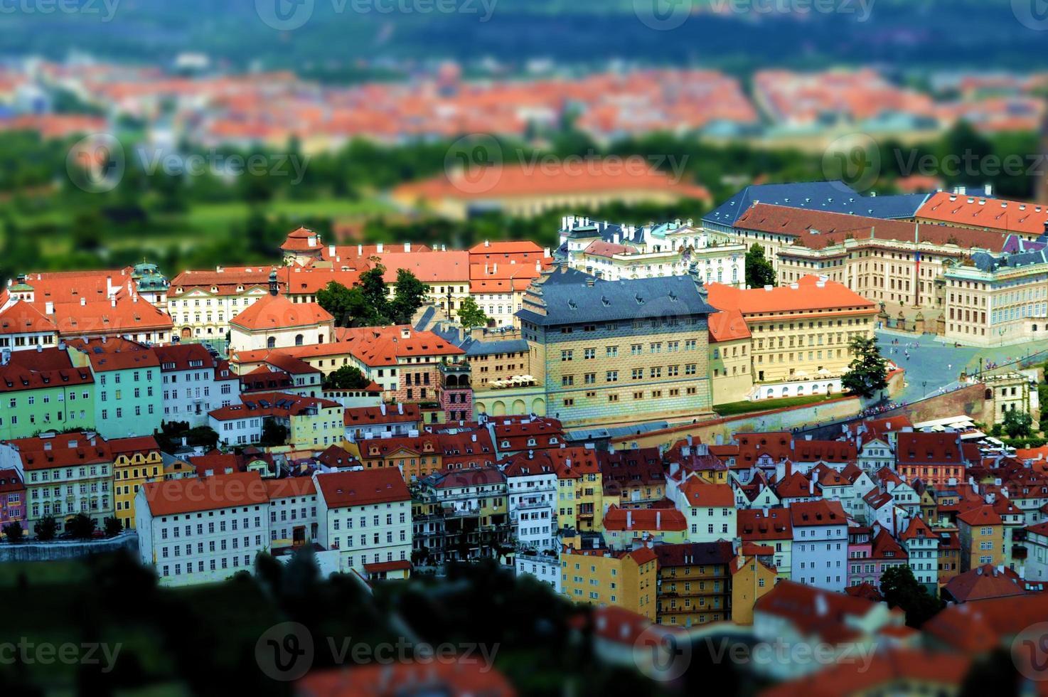 Aerial view of Prague, tilt shift effect photo