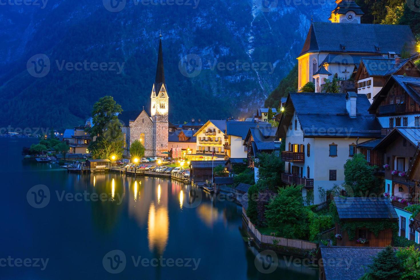 Hallstatt village in Alps photo