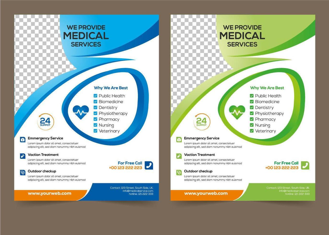 Medical Flyer Template Set 24 Vector Art at Vecteezy In Pharmacy Brochure Template Free