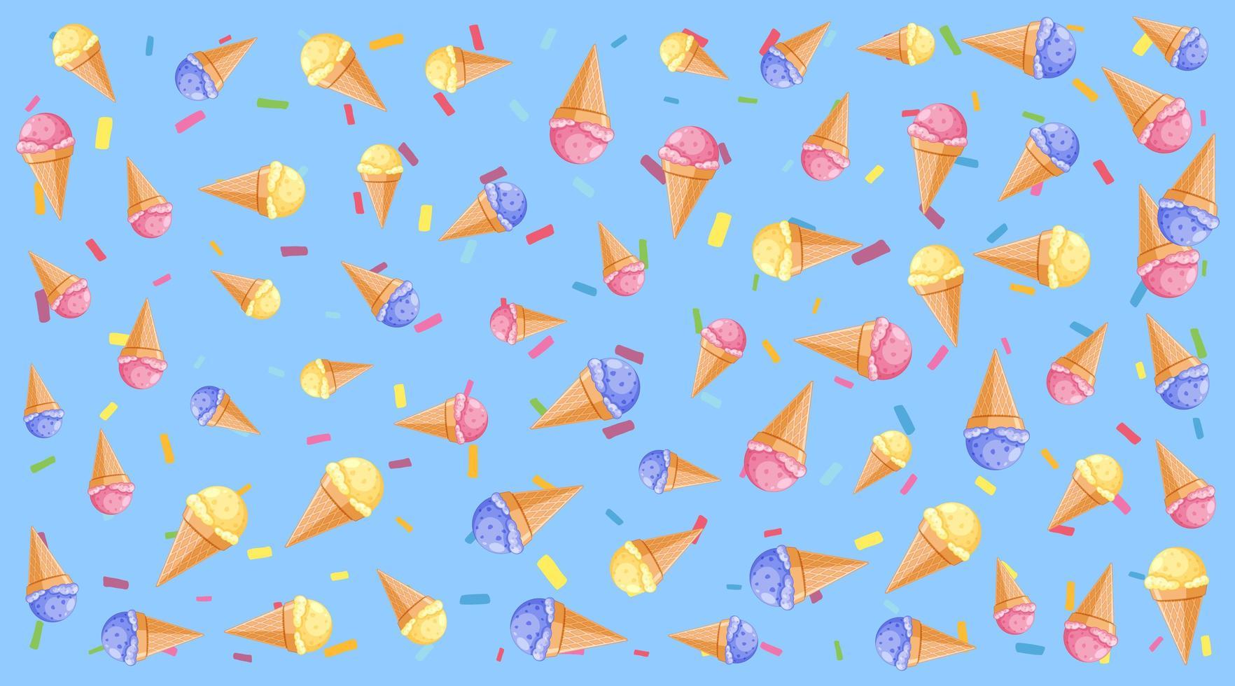 patrón de fondo transparente con helado vector