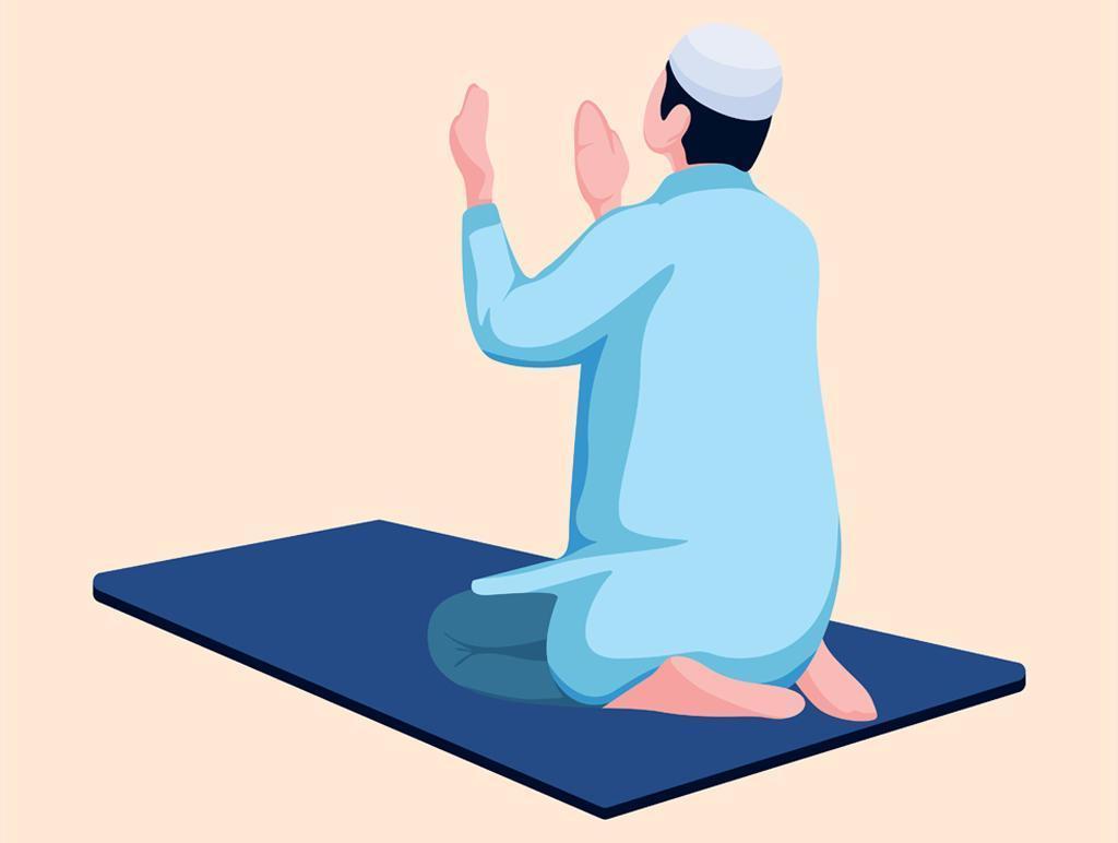 Eid Mubarak Ramadan Concept With Man Praying vector