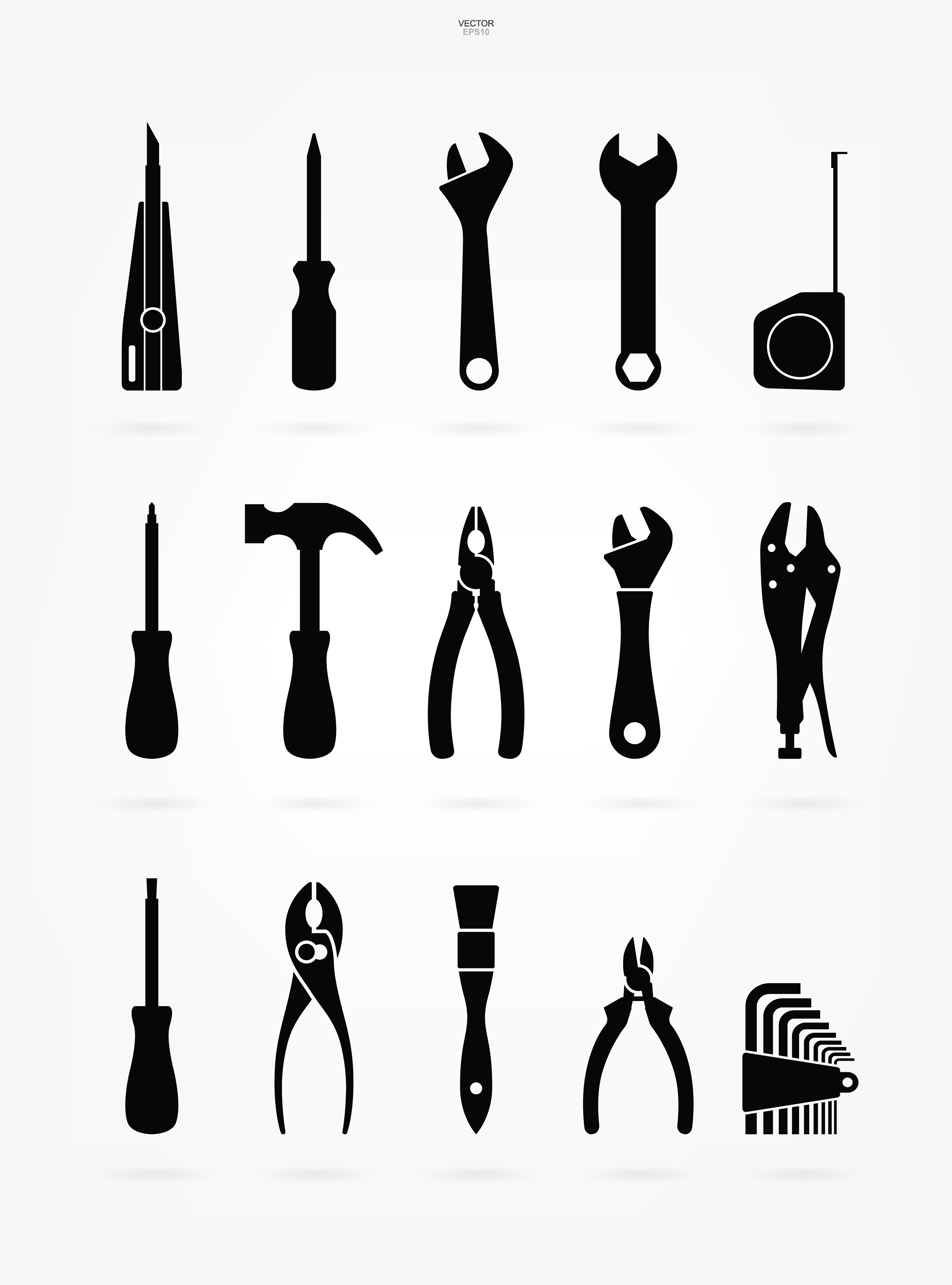 Craftsman Tool Silhouette Icon Set - Download Free Vectors ...
