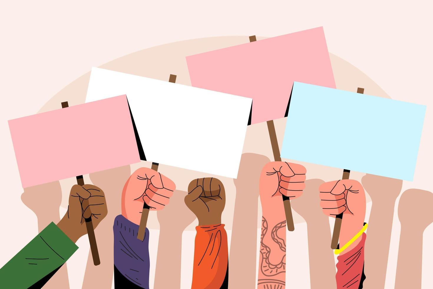 mãos com cartazes em fundo rosa vetor