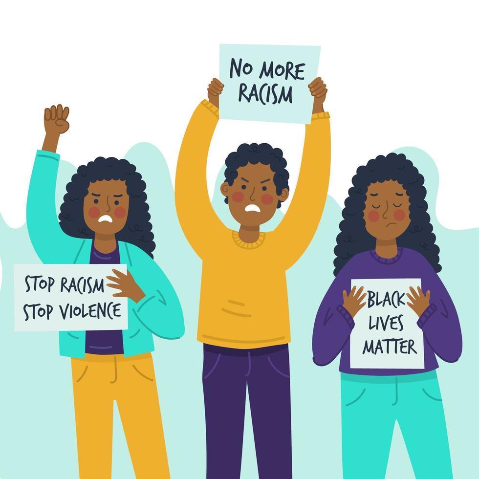 poc man och kvinnor som protesterar koncept vektor