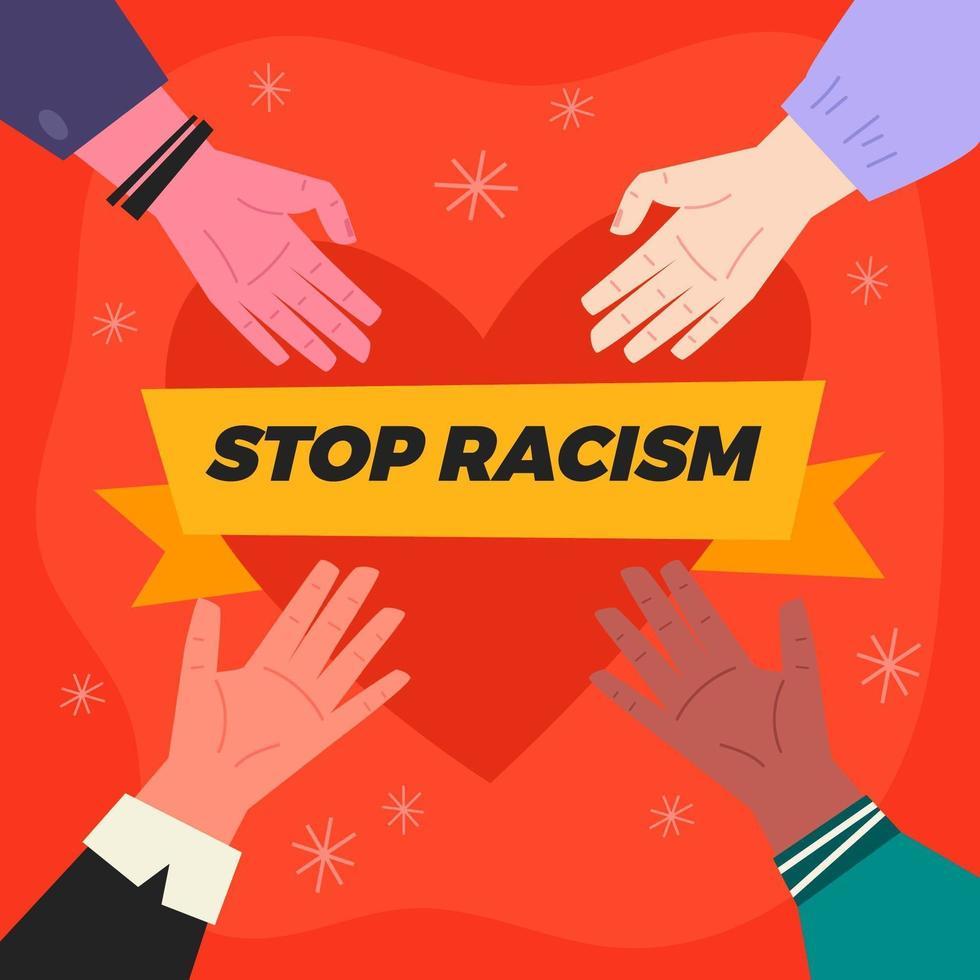 stop racisme hand concept vector