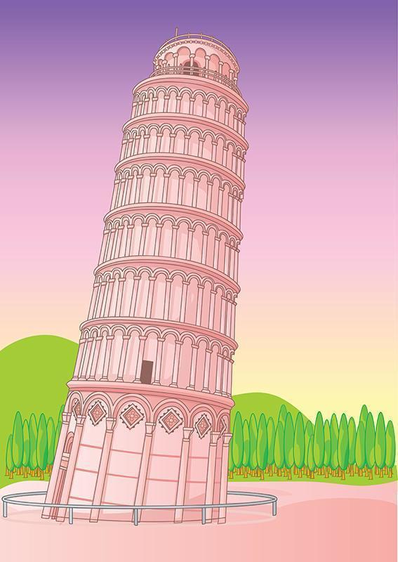 torre pendente di pisa italia vettore