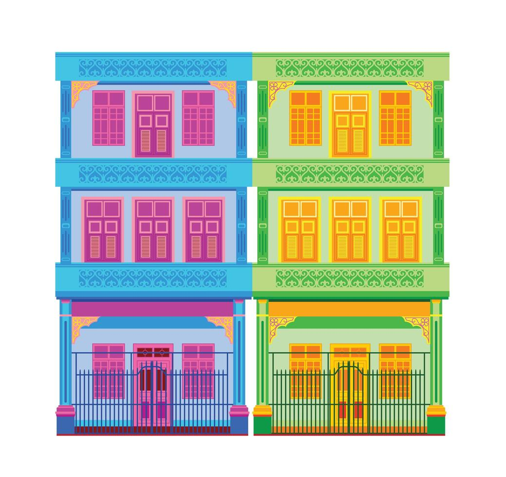 Classic Chinese Old Town Houses  vector
