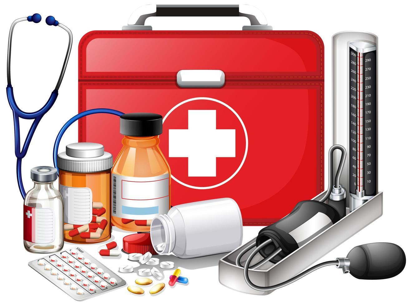 conjunto de equipos médicos con botiquín rojo vector