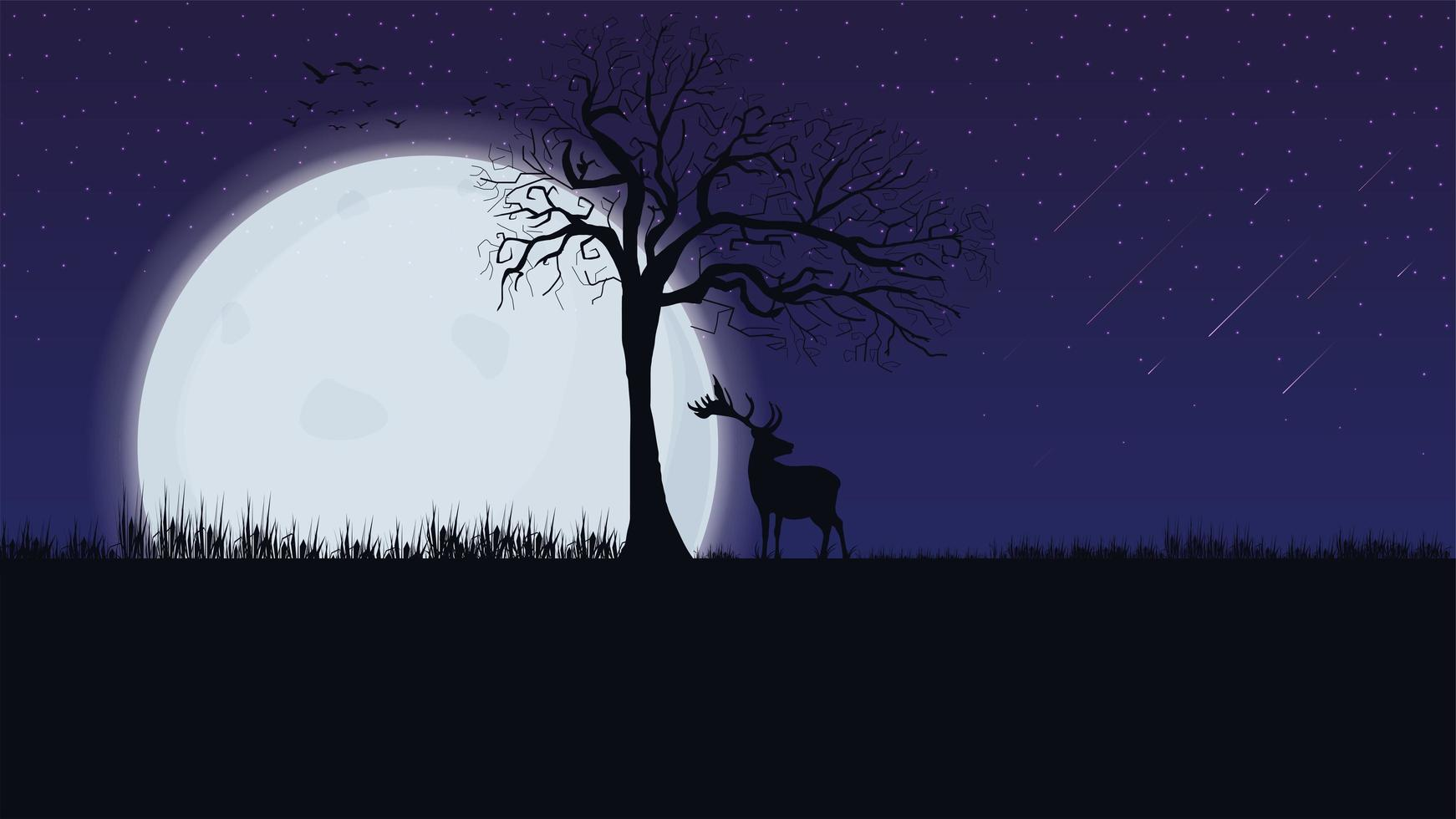 Night landscape with large moon  vector