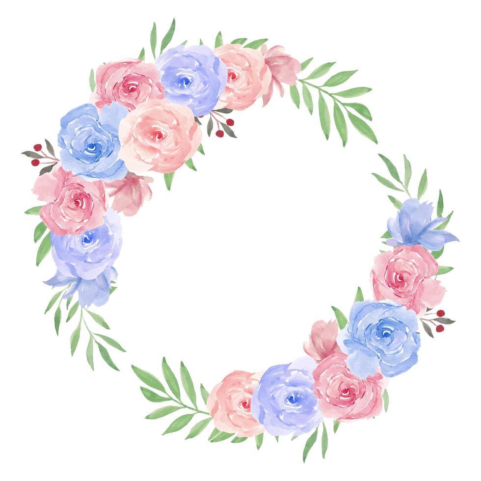 grinalda de flores em aquarela para decoração vetor