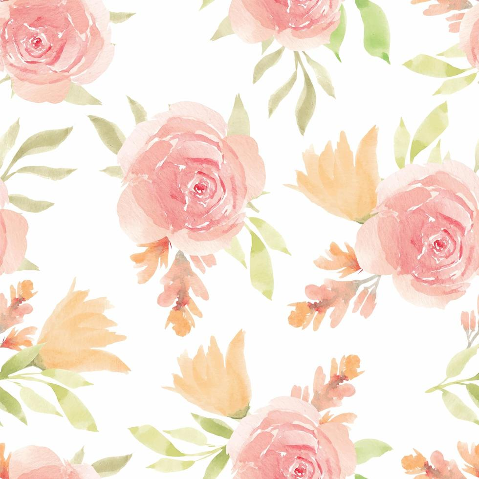 Repeating Pattern with Watercolor Blooming Flower vector