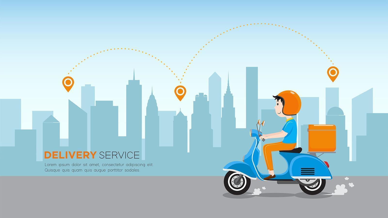 servicio de entrega comercial durante el día vector