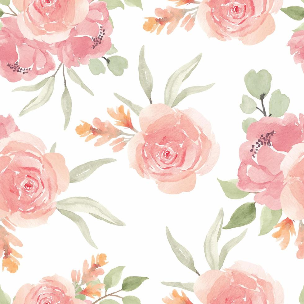 Watercolor Seamless Pattern with Pink Rose Flower vector