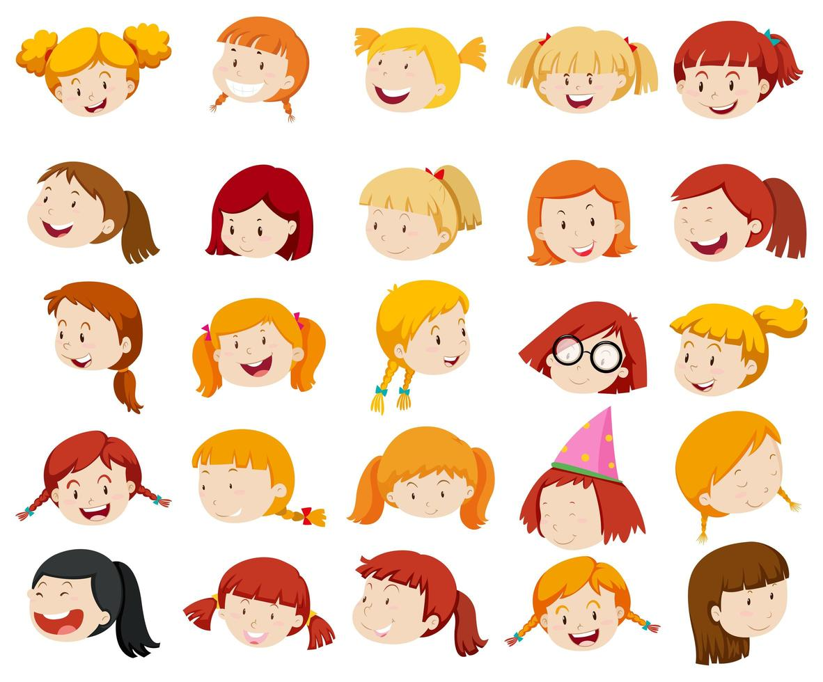 Girl face with big smile vector