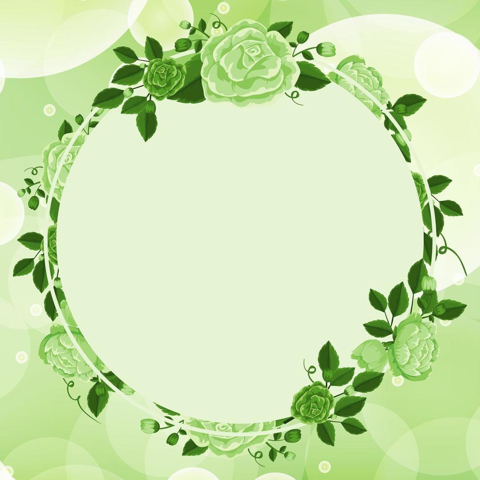 diseño de fondo con marco de flores verdes vector