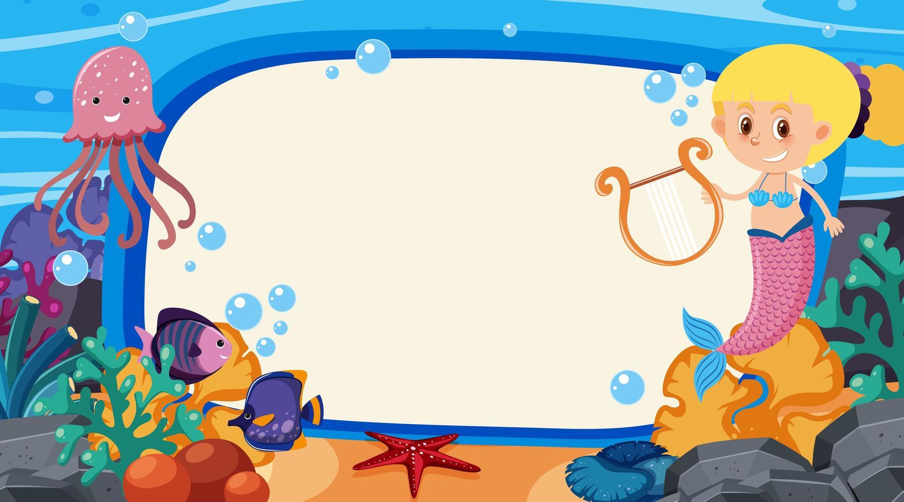 Diseño de plantilla de marco con criaturas marinas bajo el océano vector
