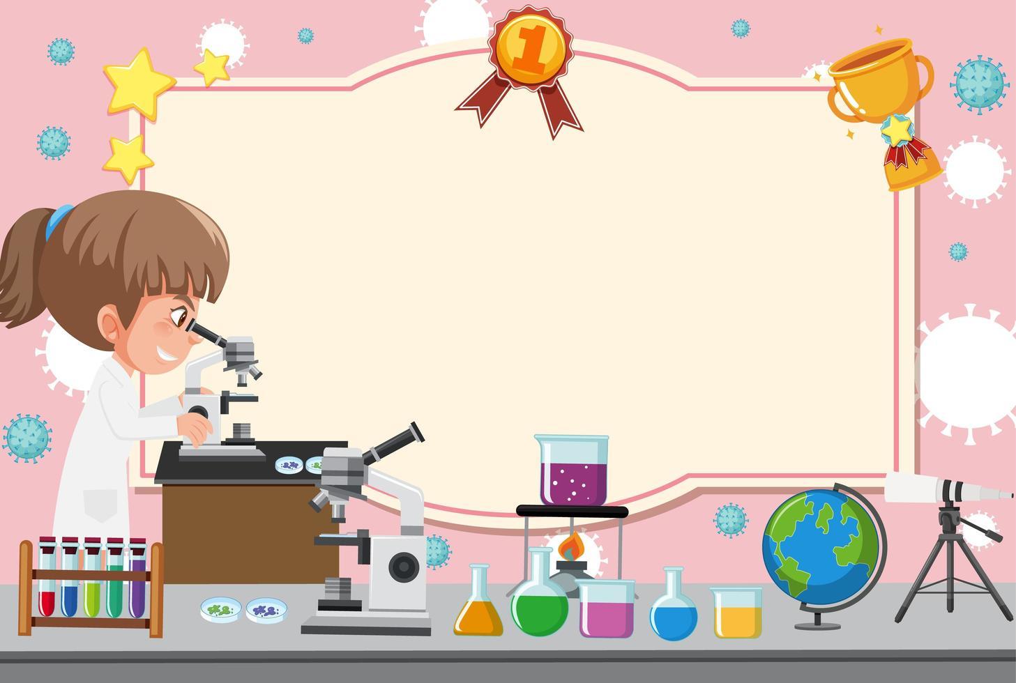 plantilla de certificado con chica en bata de laboratorio mirando a través del microscopio vector