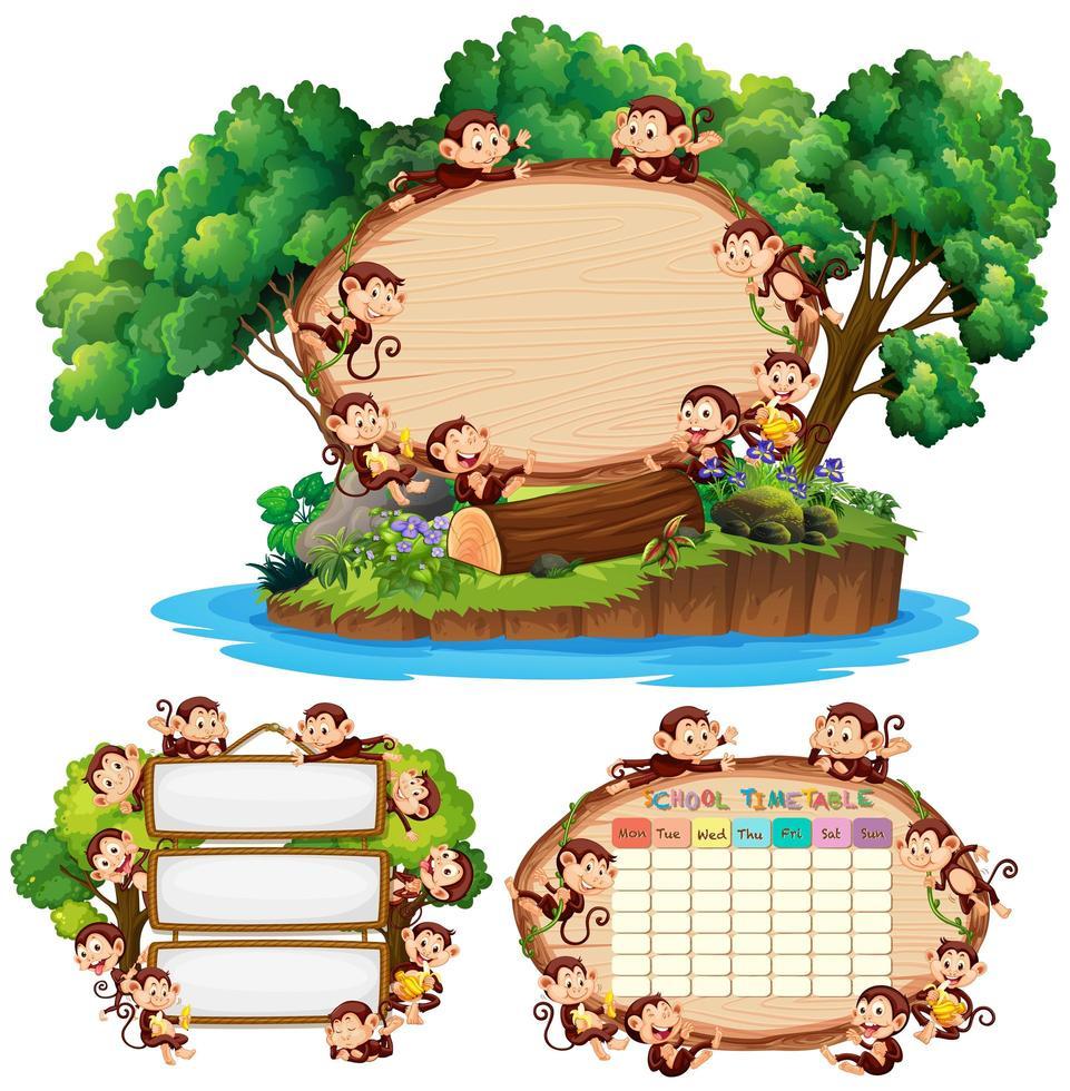 plantilla de junta escolar con monos felices en segundo plano vector