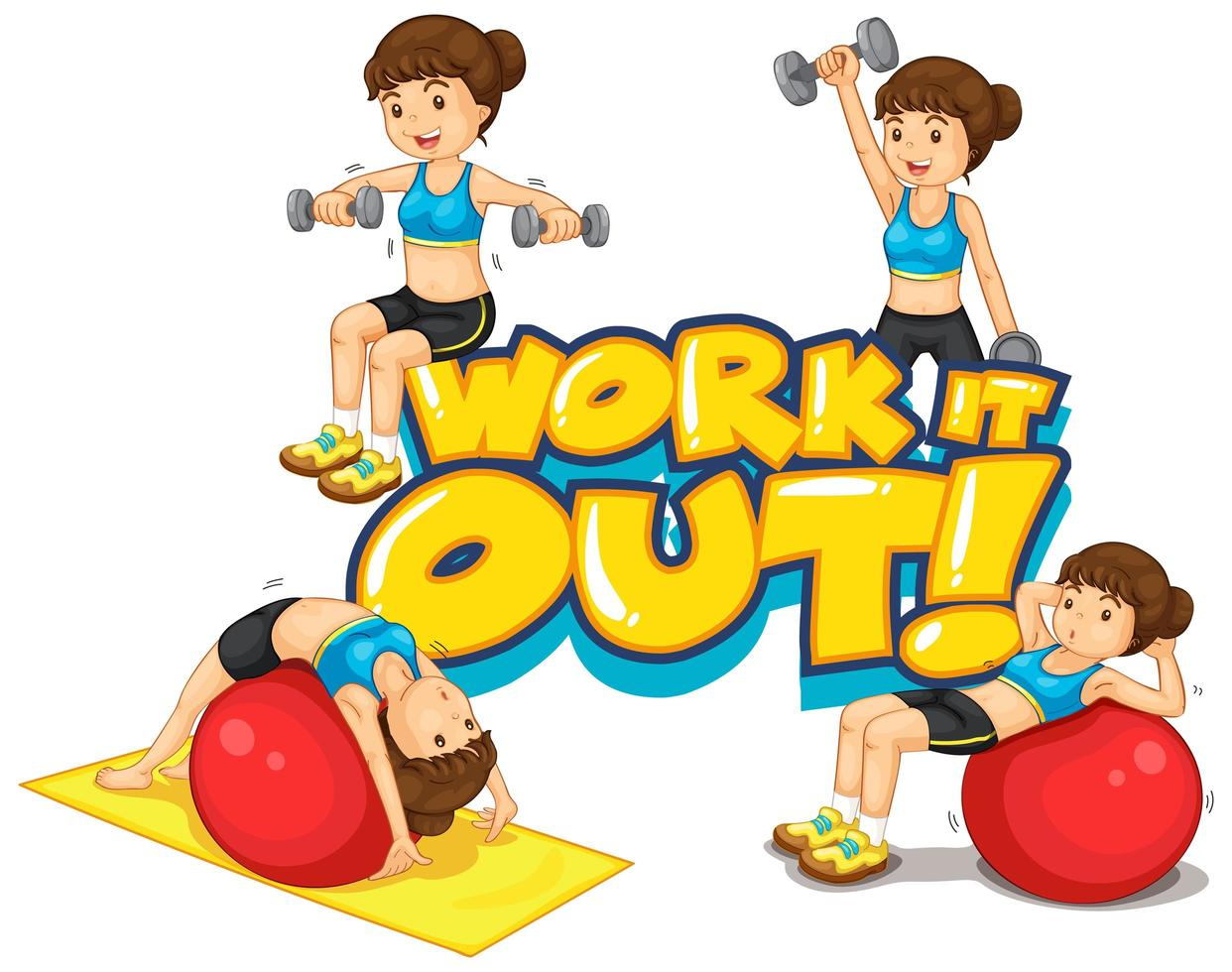 Font design for word work it out with woman doing exercise vector
