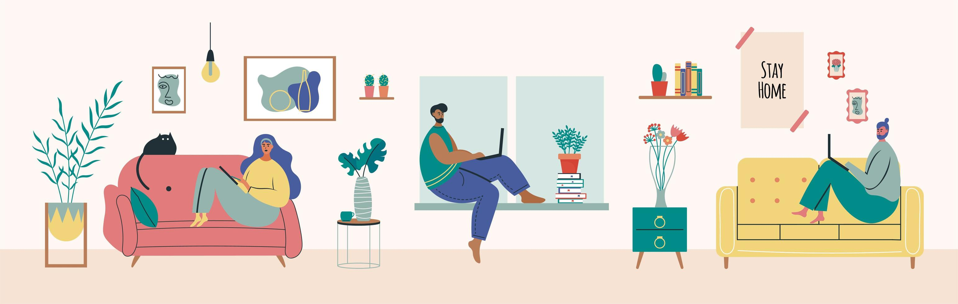 Young man and woman working from home vector