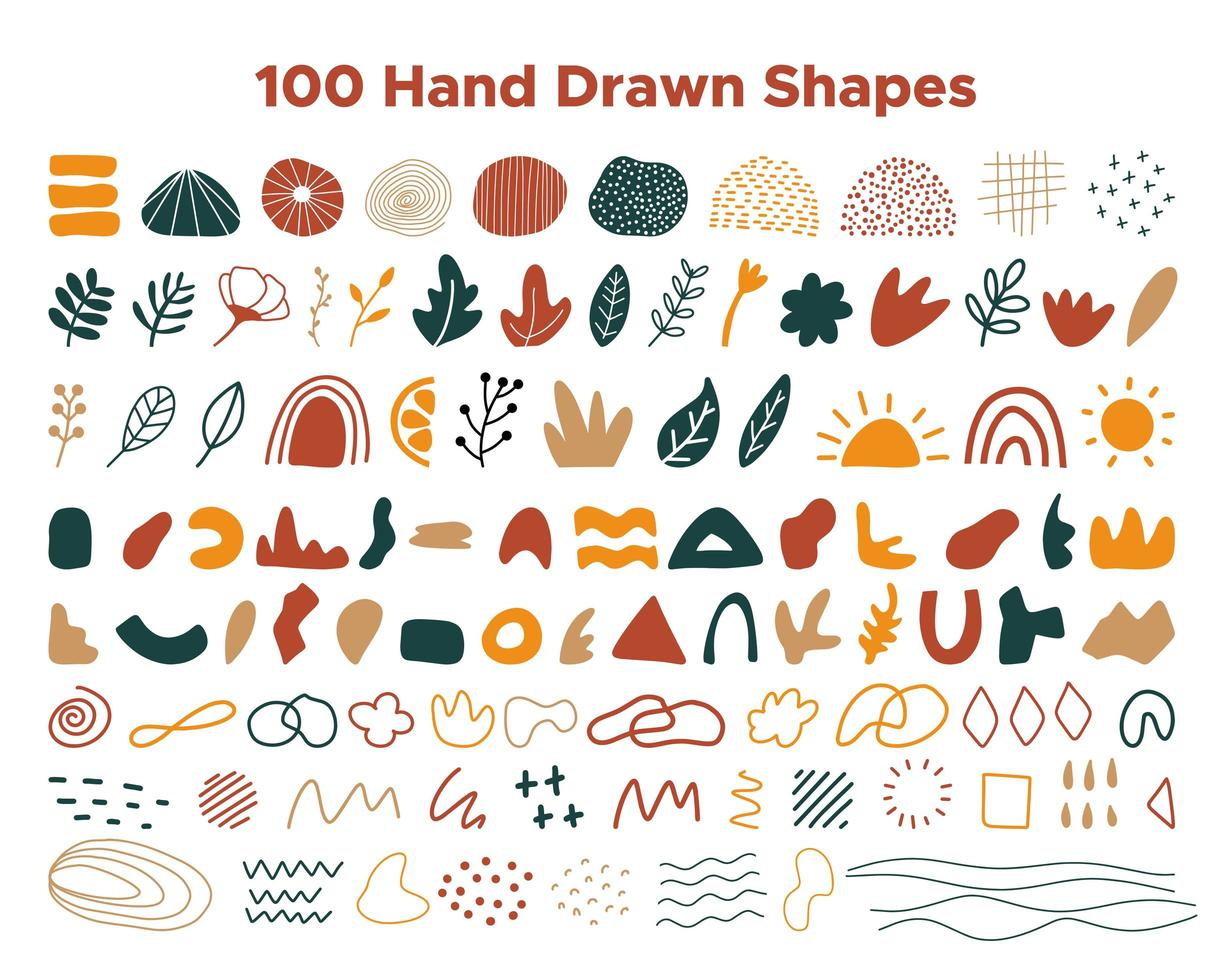 Hand drawn shapes collection vector