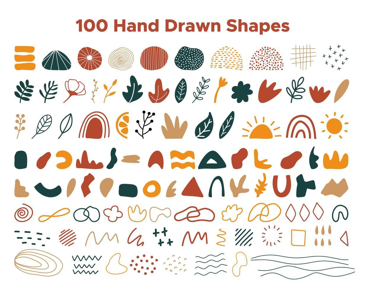 colección de formas dibujadas a mano vector