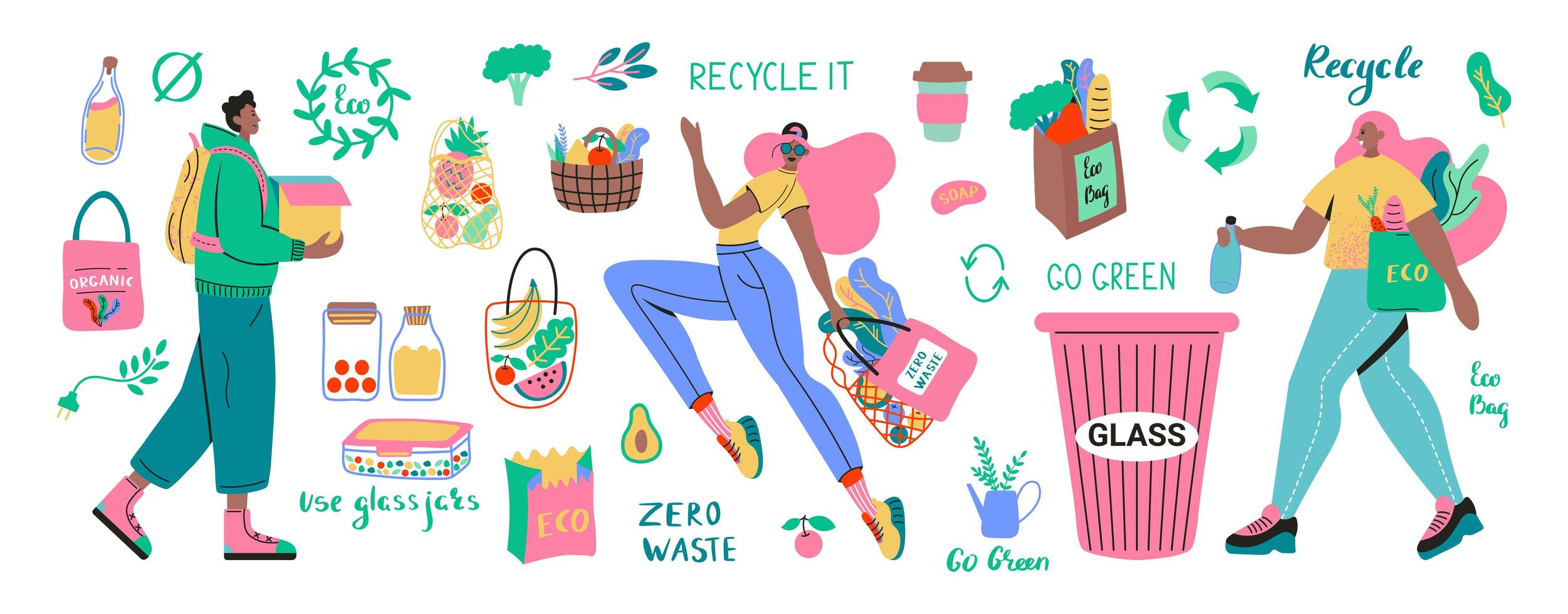 Collection of Zero Waste with characters and products vector