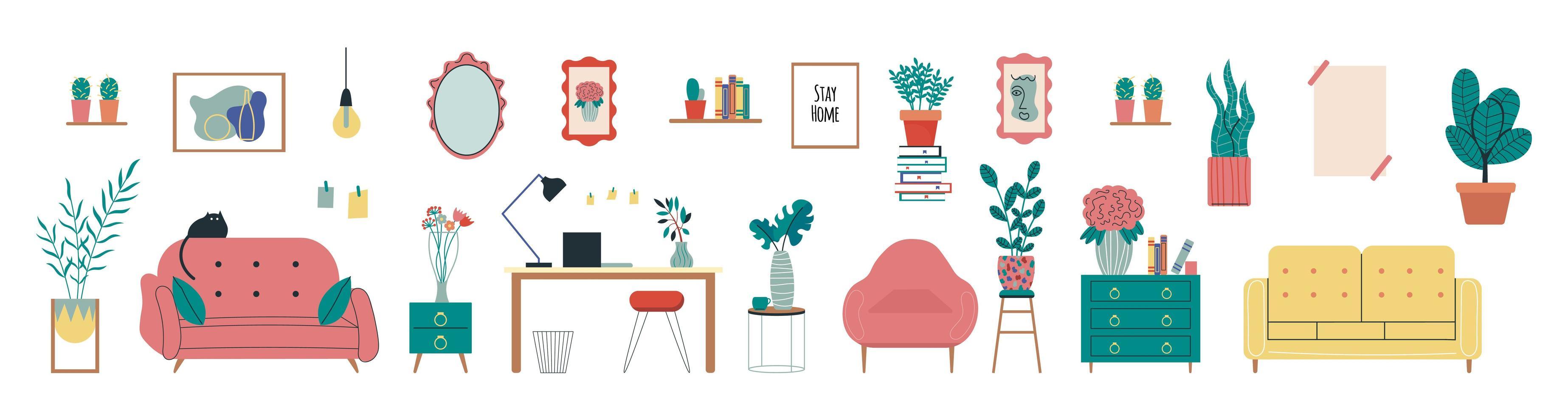 Stylish Scandic living room interior vector
