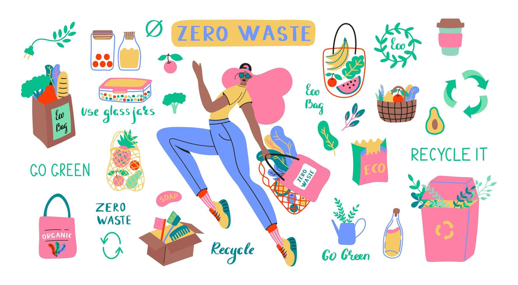Collection of Zero Waste durable and reusable items vector