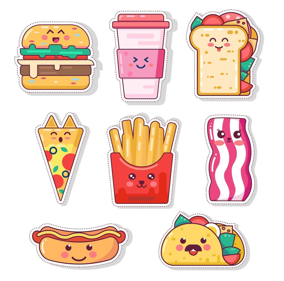 Set of cute fast food stickers vector