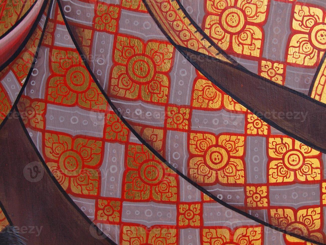 pintura del arte de la pared en el templo de Tailandia foto