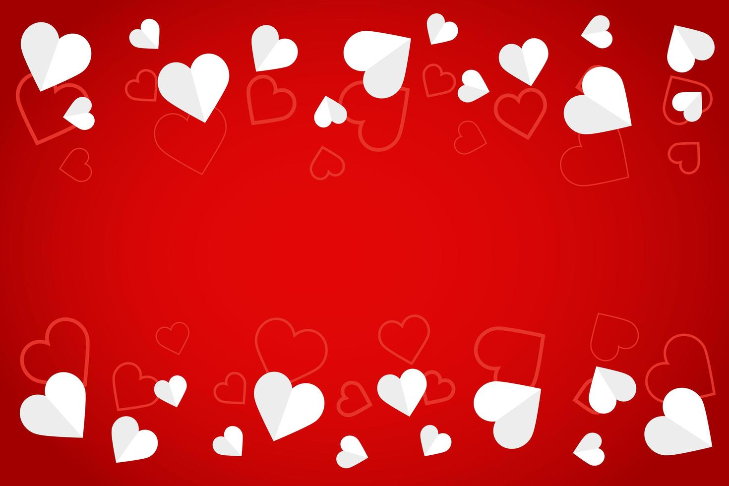 corações de papel branco e banner padrão vetor