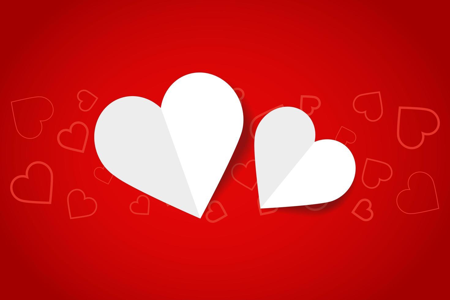 corações de papel no gradiente vermelho com padrão de coração vetor