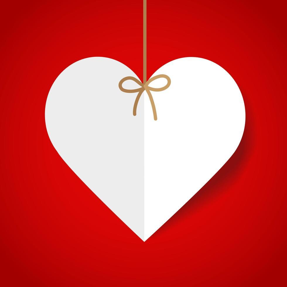 coração de papel em uma corda vetor