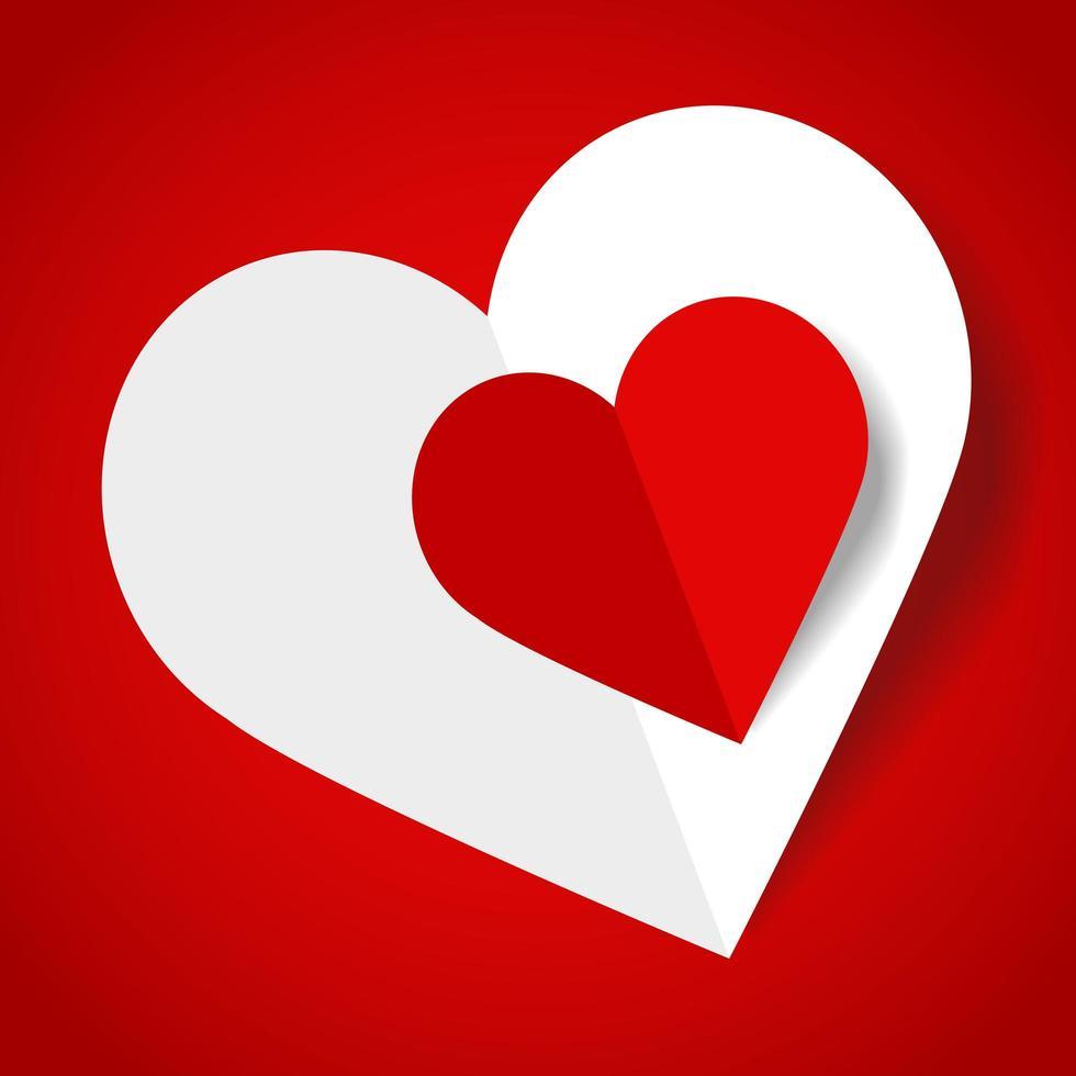 corações de papel branco e vermelho em gradiente vermelho vetor