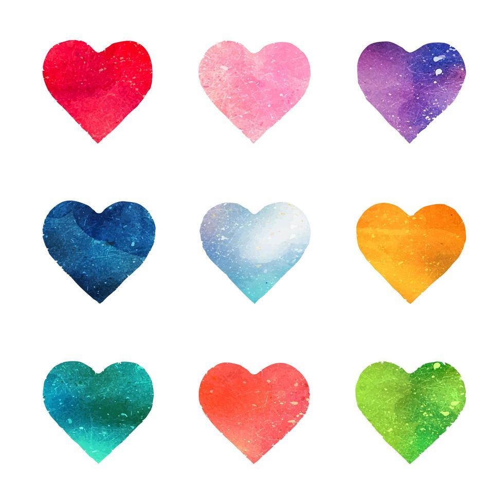 coleção de corações em aquarela vetor