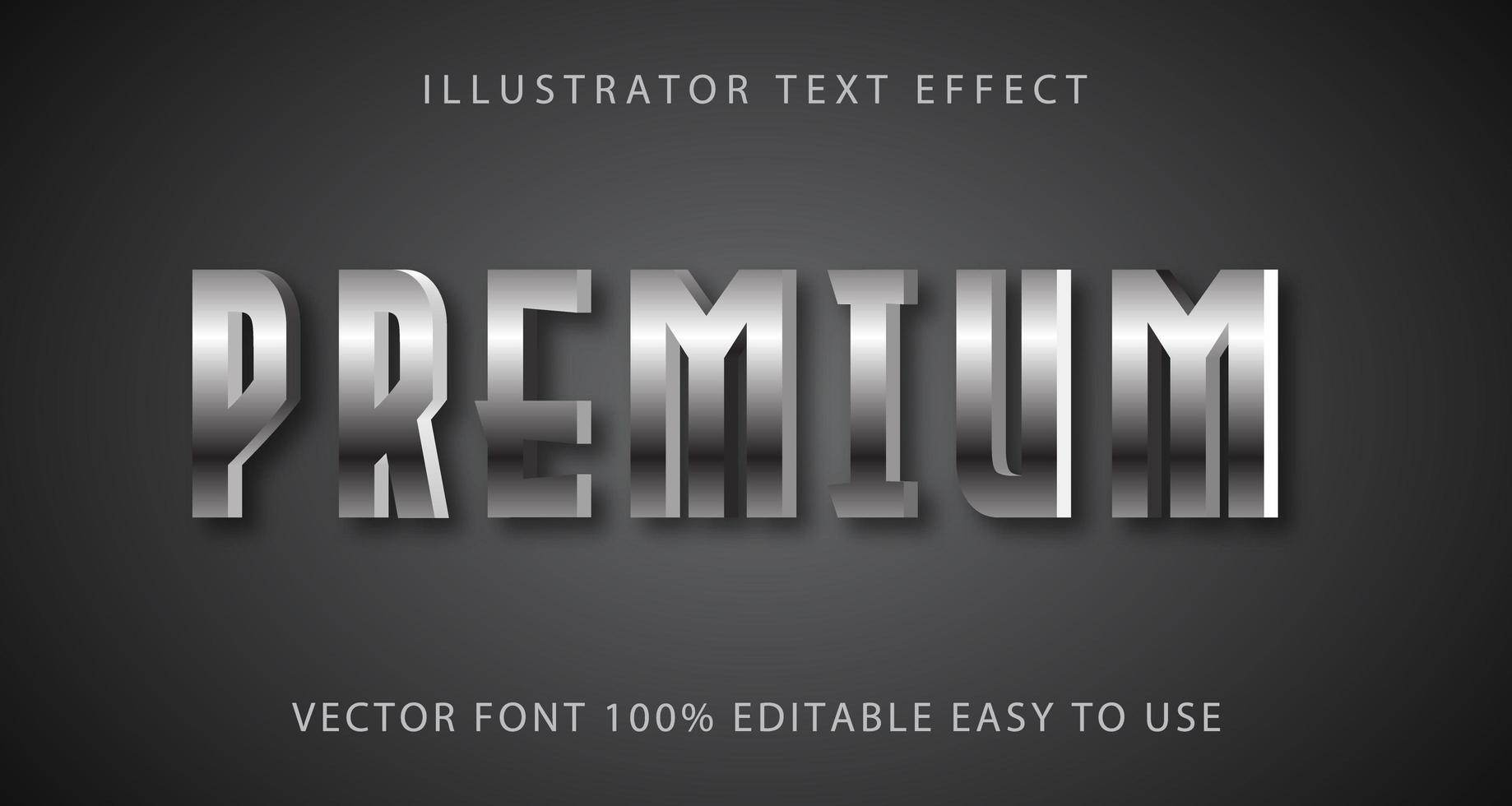 efecto de texto premium metálico plateado vector