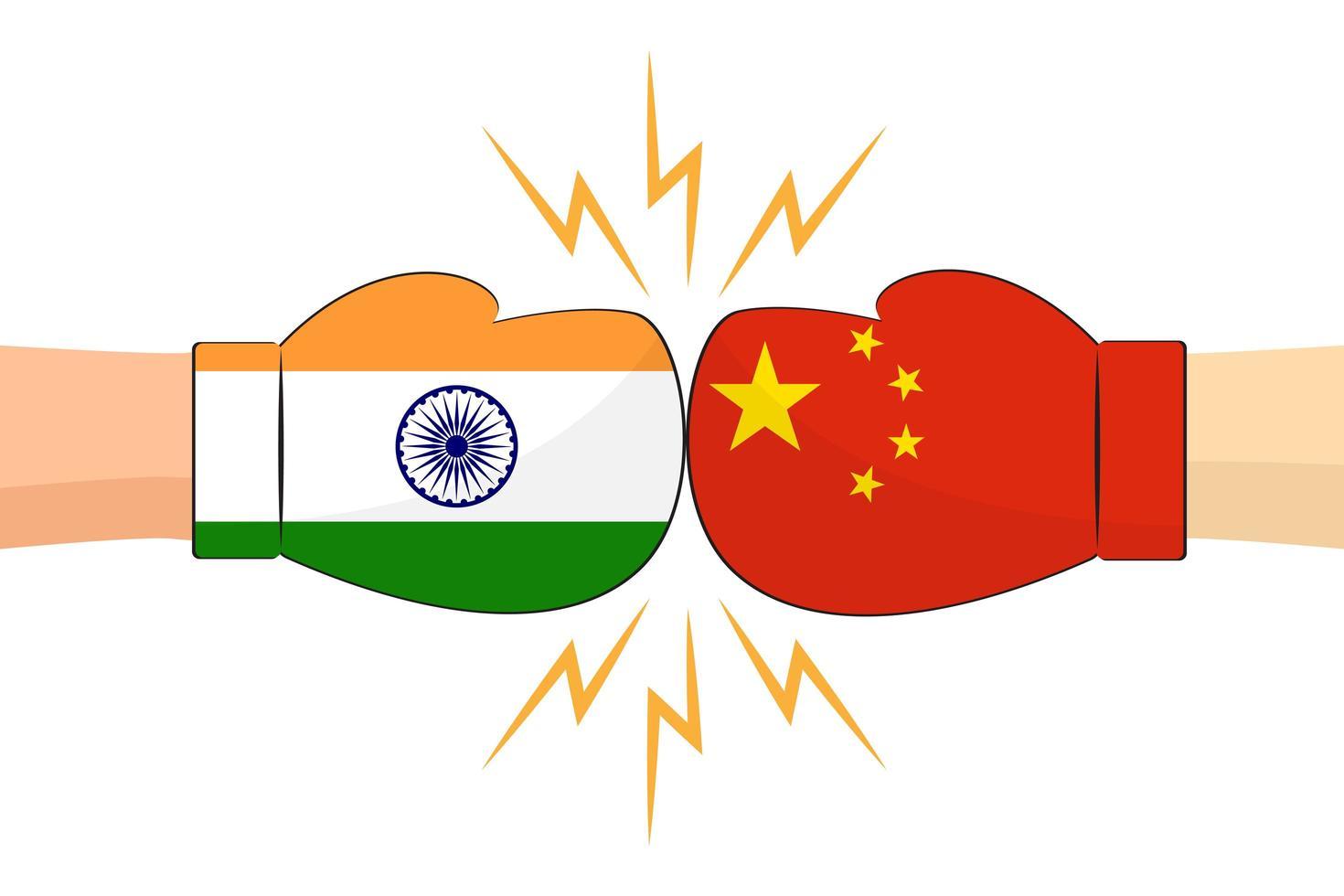 guantes de boxeo entre banderas india y china vector